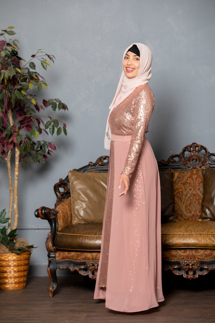 Royalty Paisley Two-Tone Maxi Dress With Sleeves- CLEARANCE - Abaya, Hijabs, Jilbabs, on sale now at UrbanModesty.com