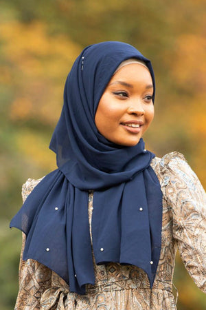 Navy Blue Pearl Chiffon Hijab - Abaya, Hijabs, Jilbabs, on sale now at UrbanModesty.com