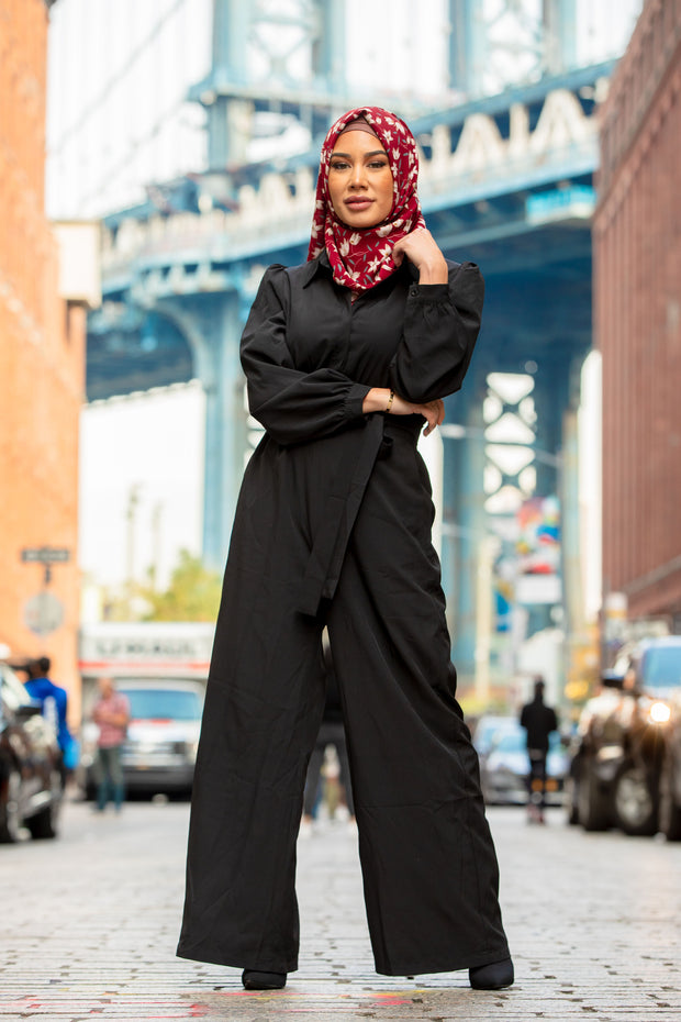 Black Lattice Long Sleeve Jumpsuit
