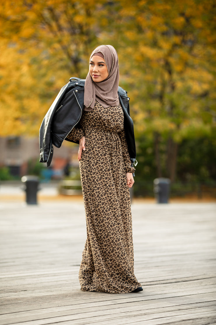 Leopard Print Drawstring Long Sleeve Maxi Dress-CLEARANCE