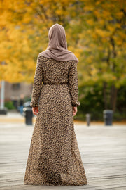 Leopard Print Long Sleeve Maxi Dress