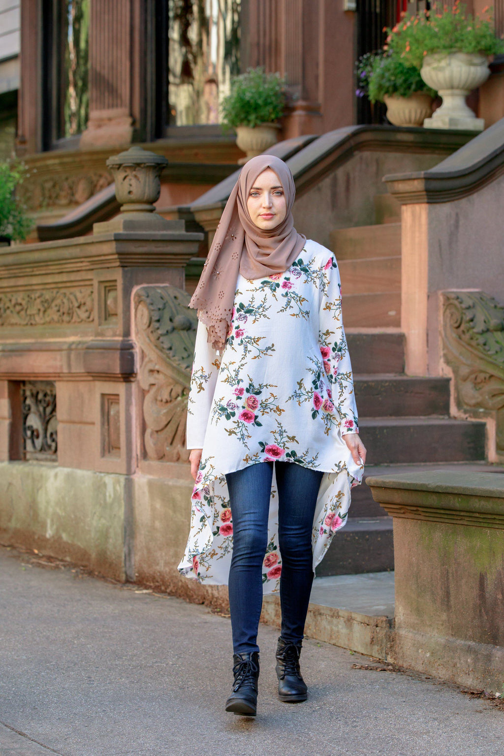 Cream Hi-Lo Floral Tunic Top - CLEARANCE-Tops-Urban Modesty Inc.