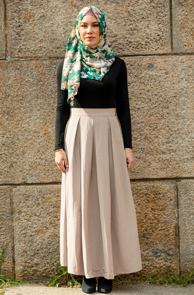 Beige High Waisted Lattice Maxi Skirt