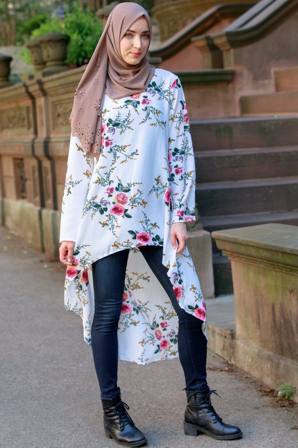 Cream Hi-Lo Floral Tunic Top - Abaya, Hijabs, Jilbabs, on sale now at UrbanModesty.com
