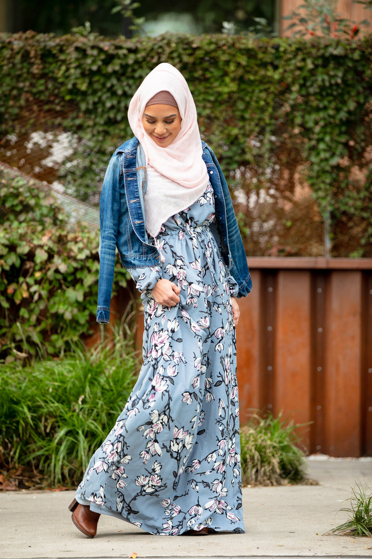 Enchanted Floral Watercolor Drawstring Maxi Dress-Preorder