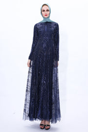 Sequin Shimmer Long Sleeve Evening Gown