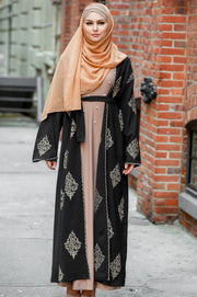 Black Marrakech Damask Open Front Abaya