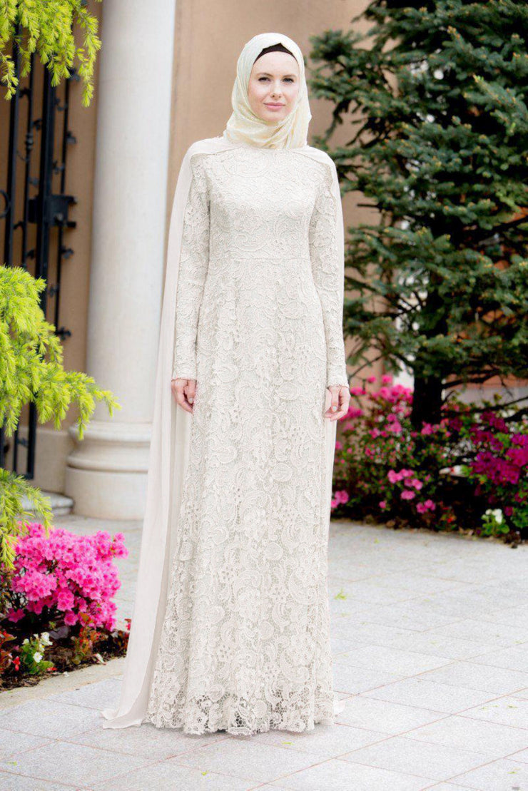 Nora White Roses Cape Lace Long Sleeve Maxi Gown