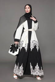 White and Black Colorblock Lace Open Front Abaya