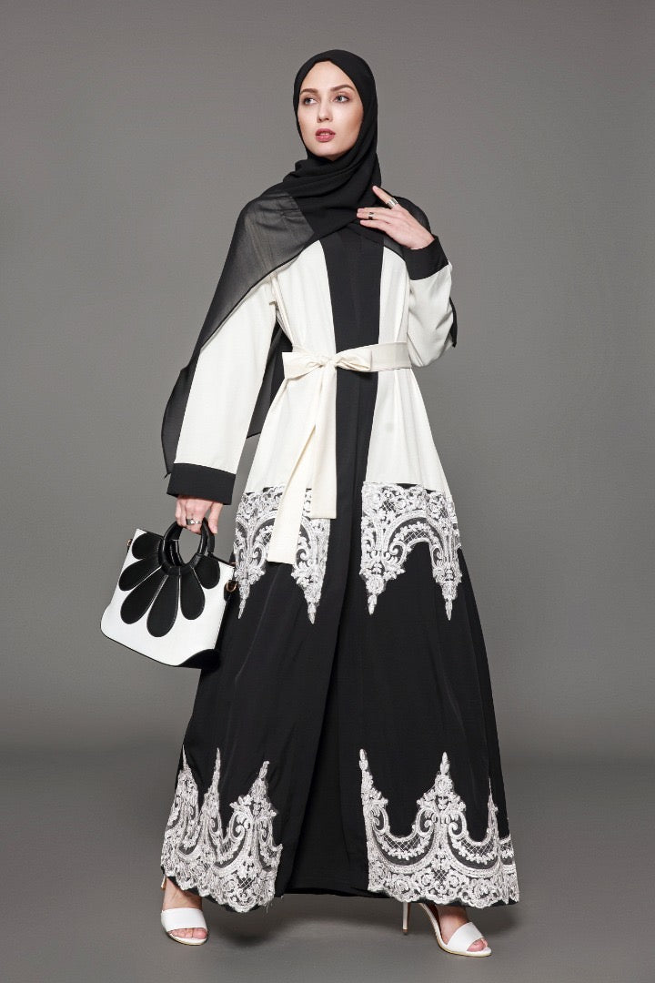 White and Black Colorblock Lace Open Front Abaya-CLEARANCE