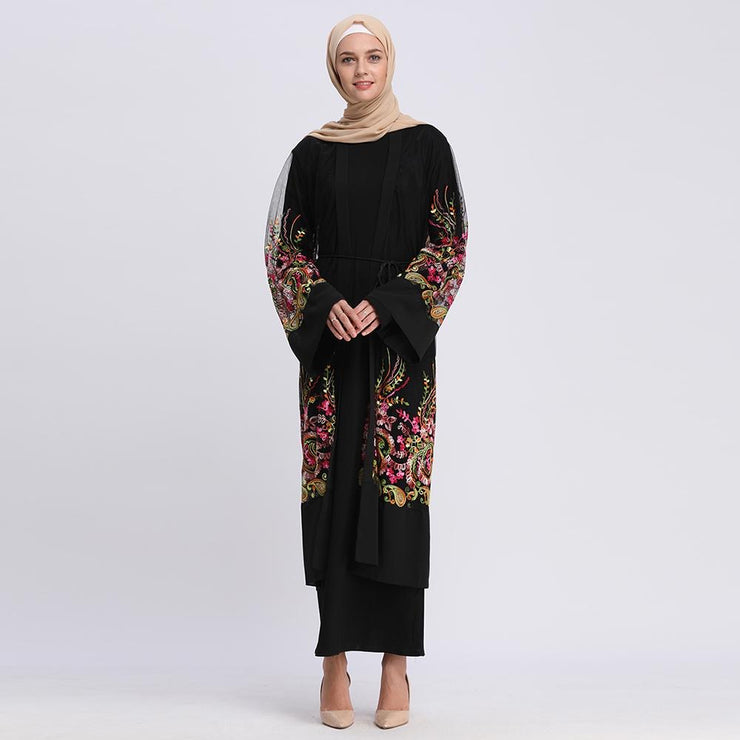 Black Paisley Mesh Embroidered Sheer Midi Cardigan-CLEARANCE