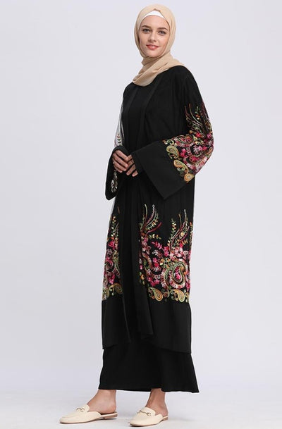 Black Paisley Mesh Embroidered Sheer Midi Cardigan