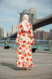 Rusty Rose Ruffle Sleeve Maxi Dress-Clearance