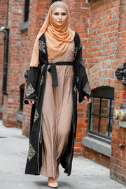 Black Marrakech Damask Open Front Abaya-CLEARANCE