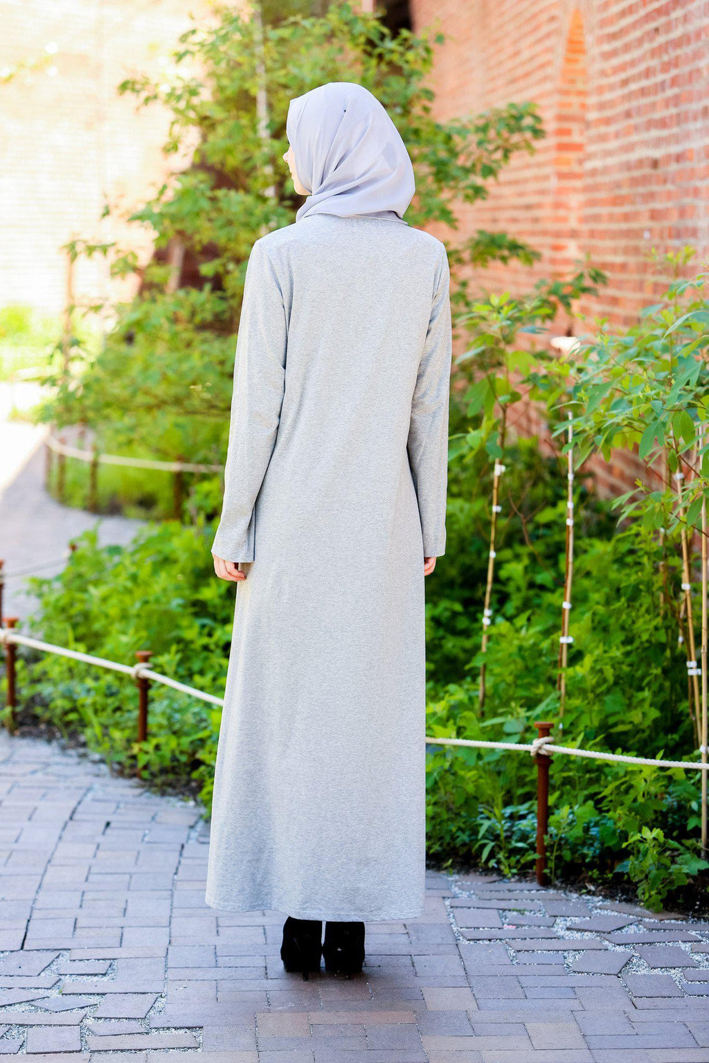Gray Cotton Long Sleeve Maxi Dress - Abaya, Hijabs, Jilbabs, on sale now at UrbanModesty.com