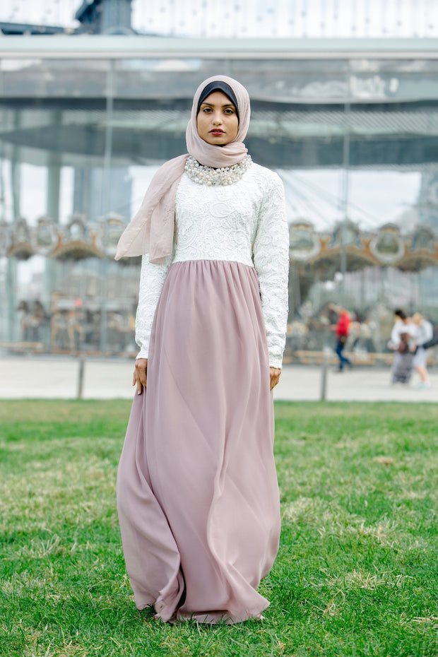 Lace Two-Tone Maxi Dress With Sleeves - CLEARANCE - Abaya, Hijabs, Jilbabs, on sale now at UrbanModesty.com