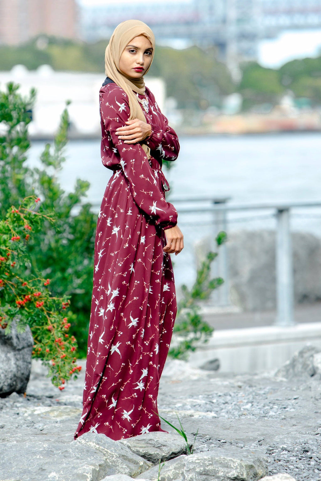 Maroon Floral Drawstring Maxi Dress - CLEARANCE - Abaya, Hijabs, Jilbabs, on sale now at UrbanModesty.com