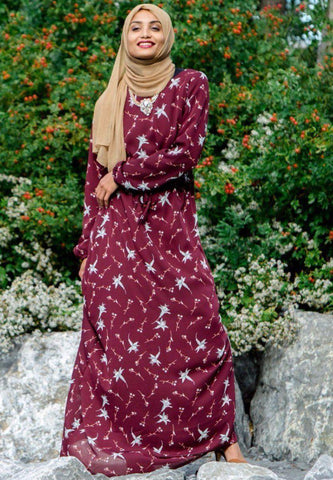 Maroon and Teal Patterned Maxi Dress