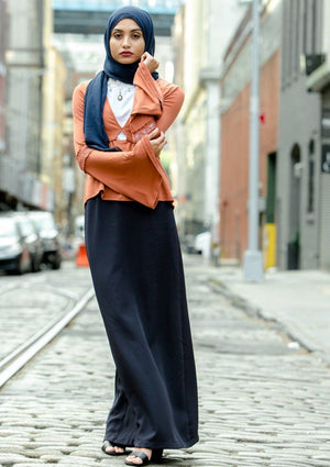 Navy Blue Pencil Maxi Skirt-Clearance - Abaya, Hijabs, Jilbabs, on sale now at UrbanModesty.com