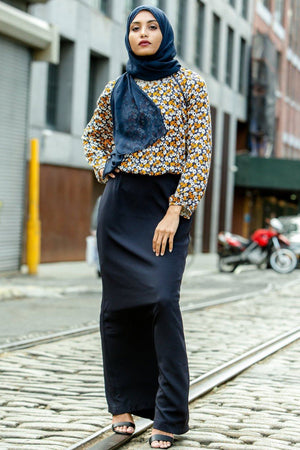 Navy Blue Pencil Maxi Skirt - Abaya, Hijabs, Jilbabs, on sale now at UrbanModesty.com