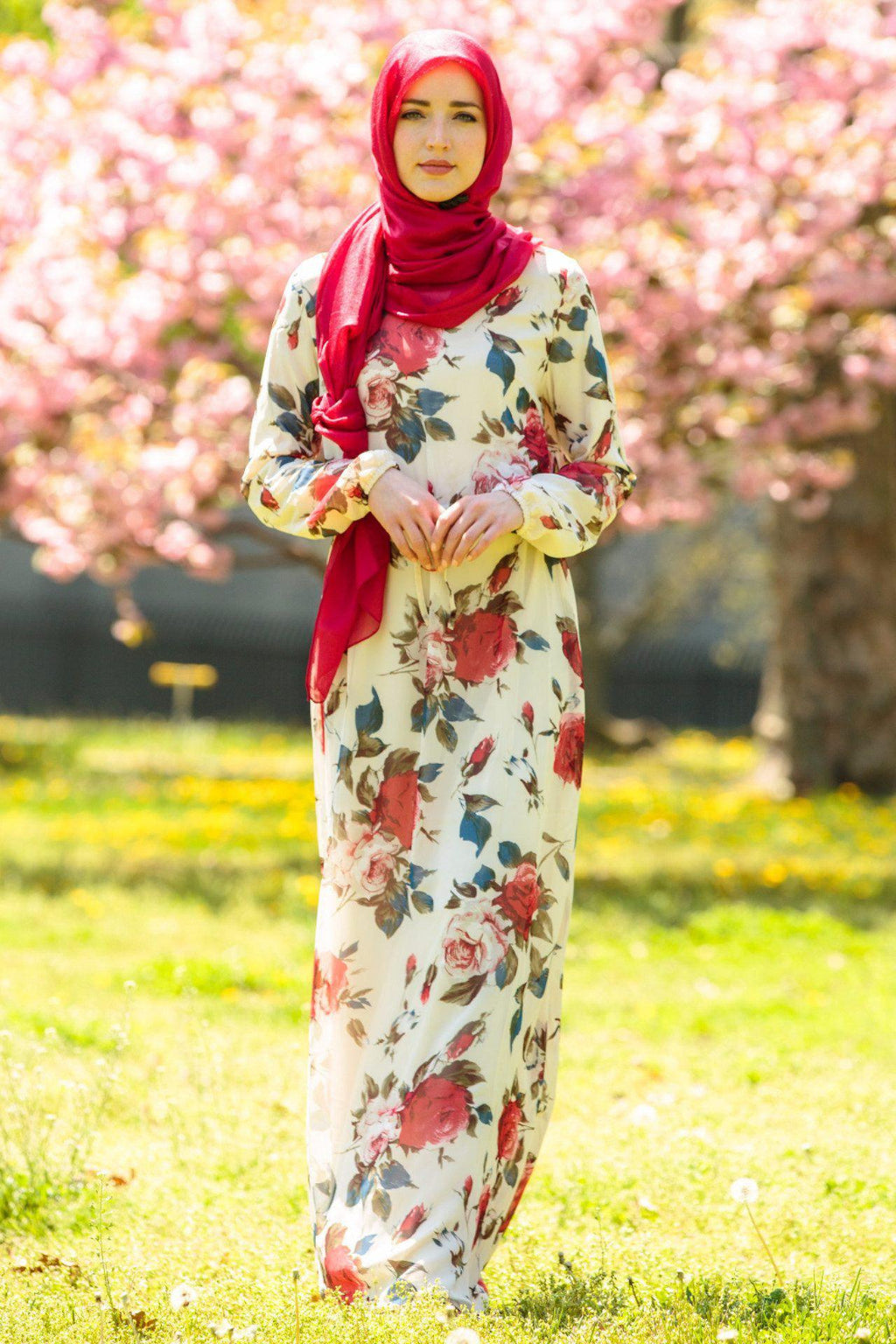 Red Floral Drawstring Maxi Dress-PREORDER - Abaya, Hijabs, Jilbabs, on sale now at UrbanModesty.com