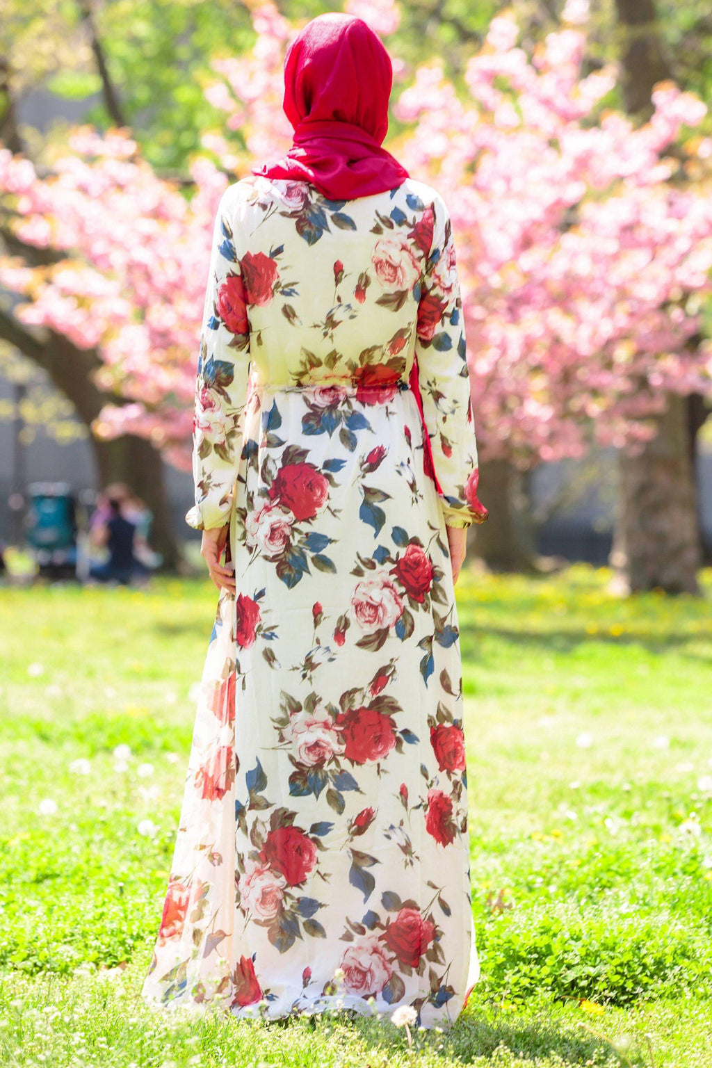 Red Floral Drawstring Maxi Dress - Abaya, Hijabs, Jilbabs, on sale now at UrbanModesty.com