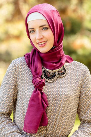 Maroon Jersey Solid With Beaded Trim Hijab