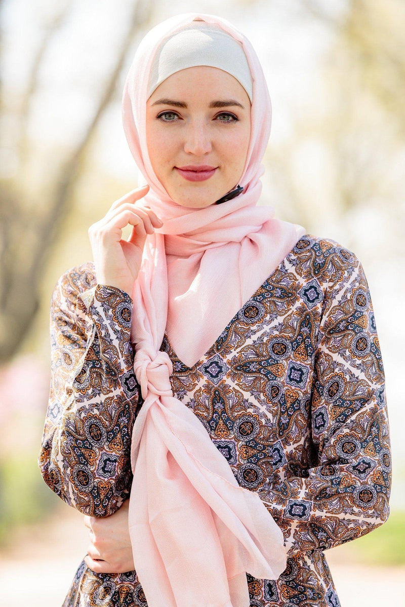 Pale Pink Shimmer Hijab Head Scarf - Abaya, Hijabs, Jilbabs, on sale now at UrbanModesty.com