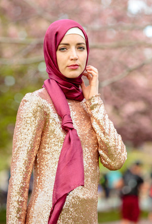 Berry Shimmer Hijab Head Scarf-Clearance - Abaya, Hijabs, Jilbabs, on sale now at UrbanModesty.com