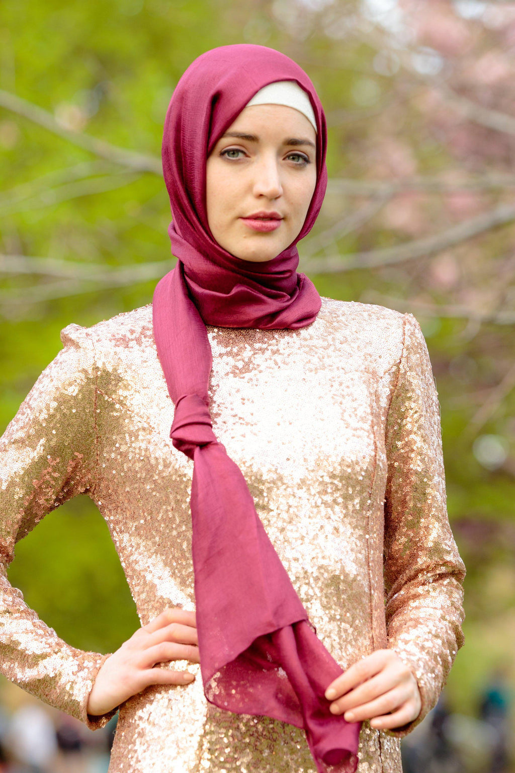 Berry Shimmer Hijab Head Scarf - Abaya, Hijabs, Jilbabs, on sale now at UrbanModesty.com