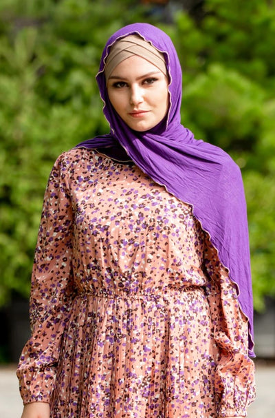 Purple Jersey Solid With Beaded Trim Hijab