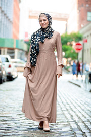 Taupe Pearl Ruffle Sleeve Maxi Dress
