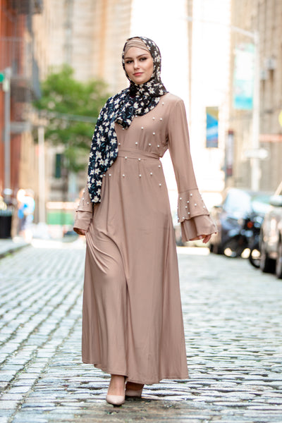 Taupe Pearl Ruffle Sleeve Maxi Dress-CLEARANCE