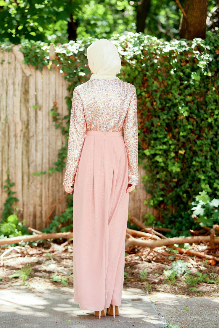 Rose Gold Sequin Gown - CLEARANCE - Abaya, Hijabs, Jilbabs, on sale now at UrbanModesty.com