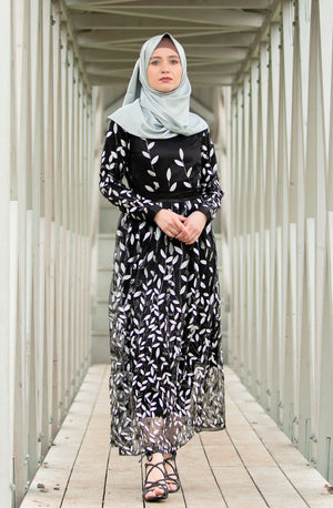 Qamar Long Sleeve Evening Gown