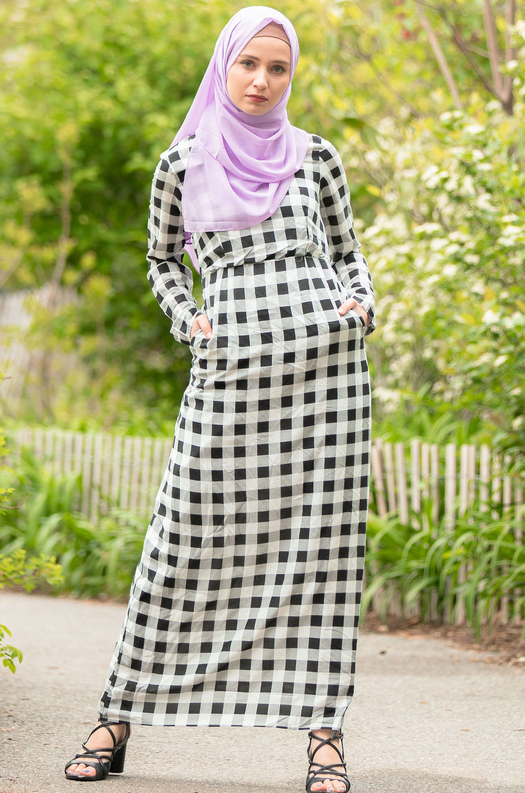 Gingham Checkered Long Sleeve Maxi Dress