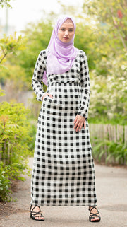 Gingham Checkered Long Sleeve Maxi Dress-CLEARANCE