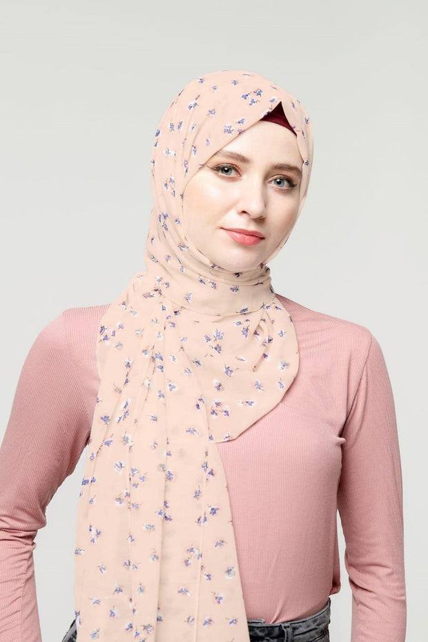 Just Peachy Floral Chiffon Hijab