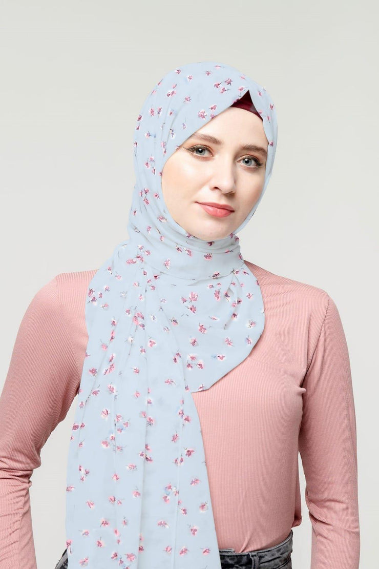 Blossoms in Blue Floral Chiffon Hijab