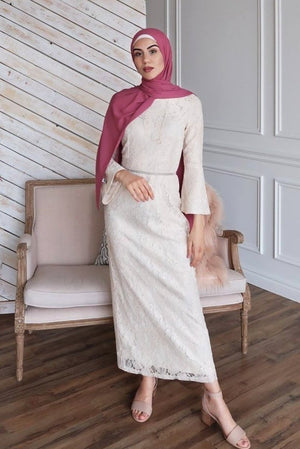 Off-White Belle Sleeve Lace Gown-Clearance