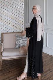 Black Sequin Fringe Open Front Abaya-CLEARANCE