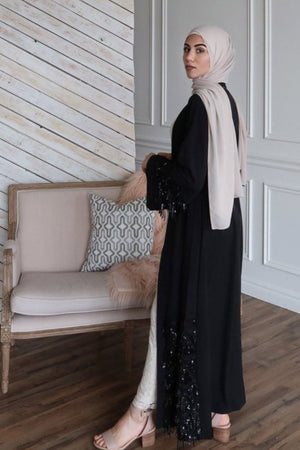 Black Sequin Fringe Open Front Abaya