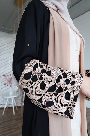 Maryam Pearl Open Front Abaya-Preorder