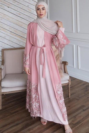 Dusty Pink Sequin Fringe Open Front Abaya-PREORDER