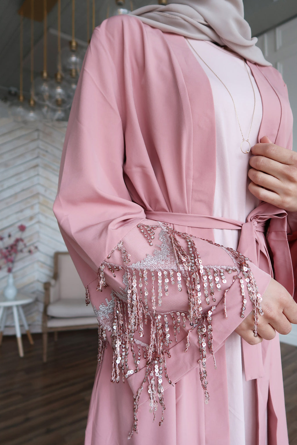 Dusty Pink Sequin Fringe Open Front Abaya