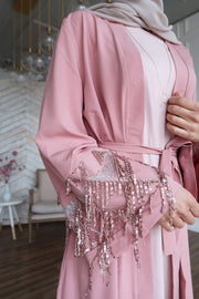 Dusty Pink Sequin Fringe Open Front Abaya-Clearance