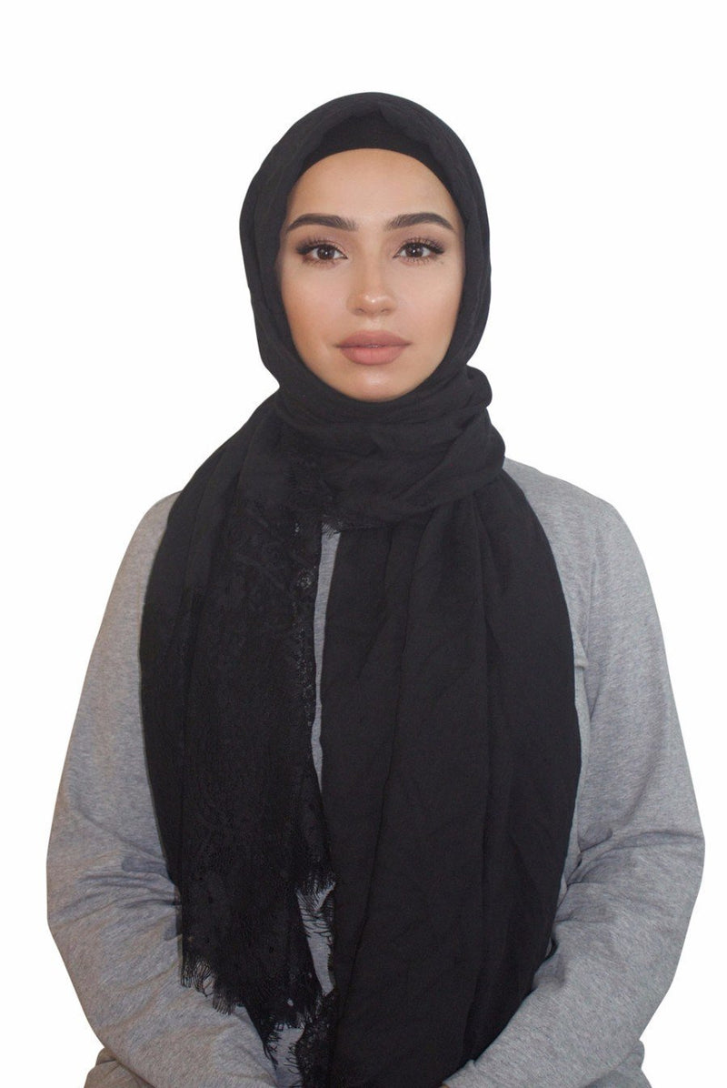 Black Lace Trim Cotton Hijab - Abaya, Hijabs, Jilbabs, on sale now at UrbanModesty.com