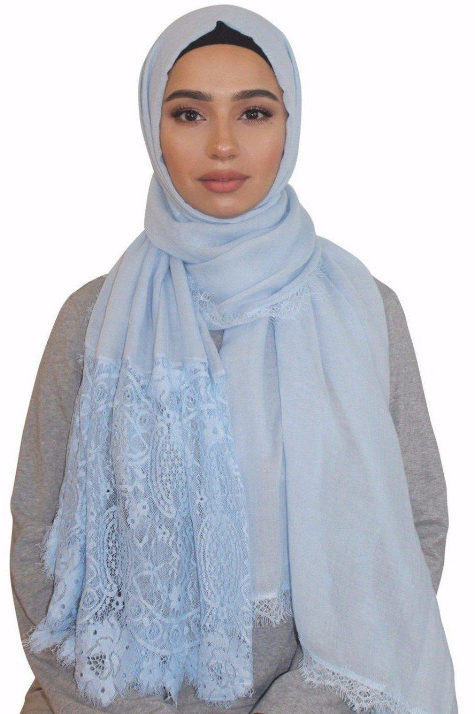 Ice Blue Lace Trim Cotton Hijab-Clearance - Abaya, Hijabs, Jilbabs, on sale now at UrbanModesty.com