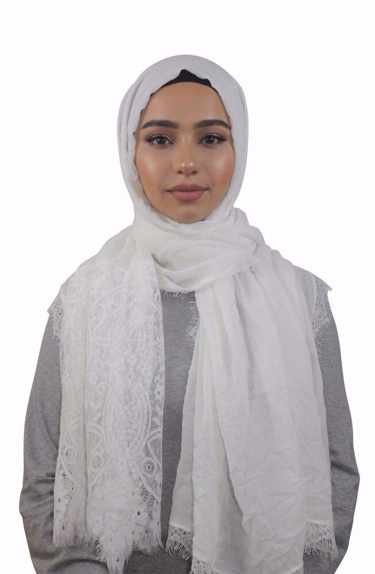 Cream Lace Trim Cotton Hijab - Abaya, Hijabs, Jilbabs, on sale now at UrbanModesty.com
