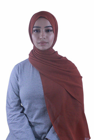 Beige Solid With Beaded Trim Hijab